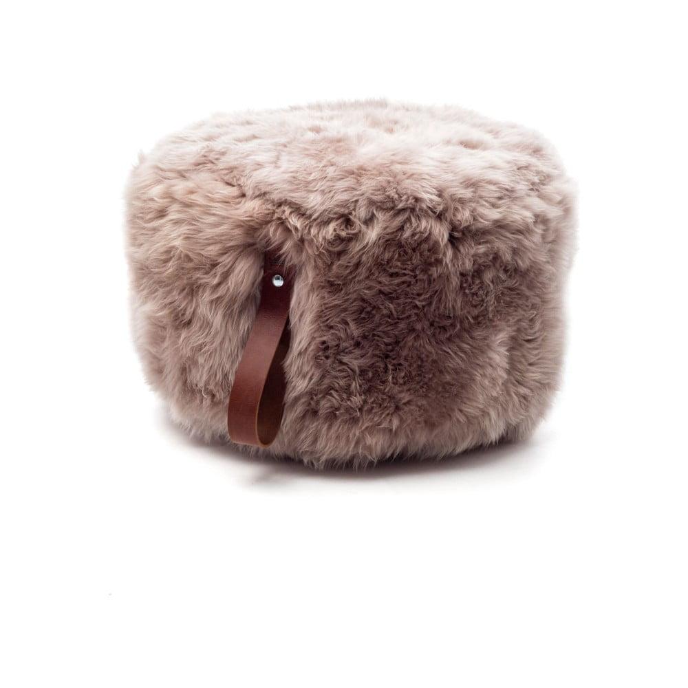 Světle hnědý puf z ovčí kožešiny s hnědým detailem Royal Dream,⌀ 60cm