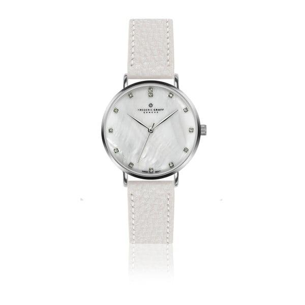Dámské hodinky s bílým páskem z pravé kůže Frederic Graff Lustio