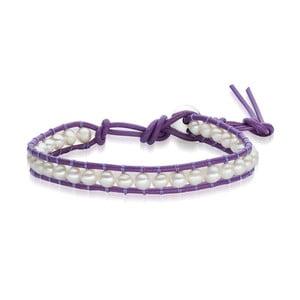 Dámský náramek fialový z pravé kůže s perlami Lucie& Jade Amy