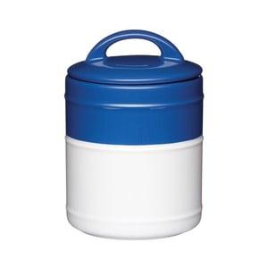 Modrobílá dóza, 10,5x15,5 cm