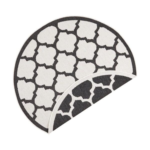 Covor adecvat pentru exterior Bougari Palermo, ⌀ 200 cm, negru-crem