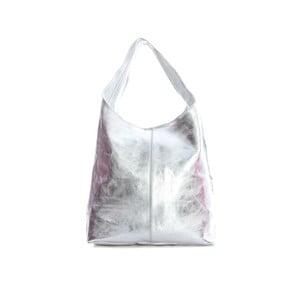 Kožená taška na rameno ve stříbrné barvě Sofia Cardoni