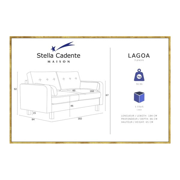 Zelenožlutá trojmístná pohovka Stella Cadente Maison Lagoa