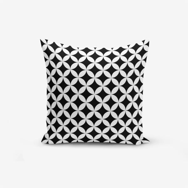Černo-bílý povlak na polštář s příměsí bavlny Minimalist Cushion Covers Black White Geometric, 45 x 45 cm