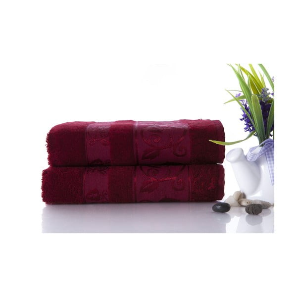 Set dvou ručníků Bamboo Burgundy, 50x90 cm