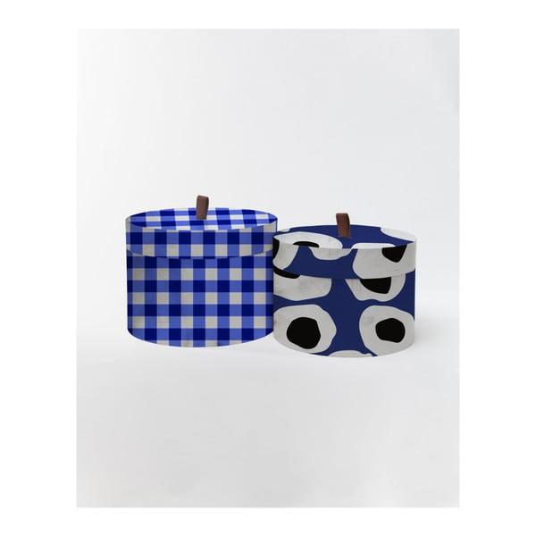Sada 2 kulatých úložných boxů ze sametu Velvet Atelier Vichy