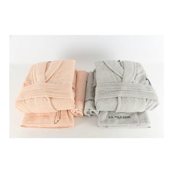 Sada dámského a pánského županu a 4 ručníků US Polo Orange Pastel