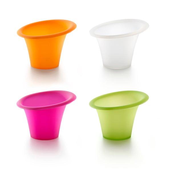 Sada 4 barevných silikonových formiček na pečení v mikrovlnce Lékué, ⌀ 11 cm