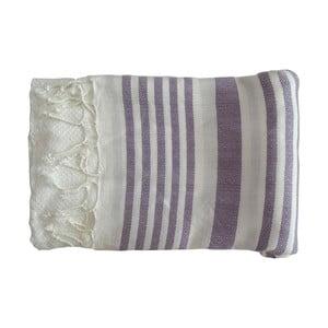 Fialovo-bílá ručně tkaná osuška z prémiové bavlny Homemania Petek Hammam,100x180 cm