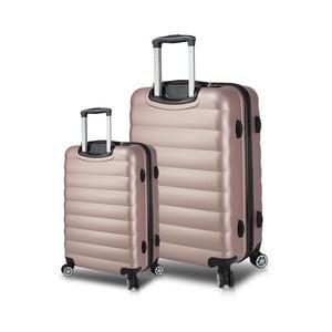 Sada 2 růžových cestovních kufrů na kolečkách s USB porty My Valice RESSNO Cabin & Large