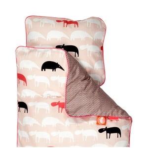Lenjerie de pat pentru copii Done By Deer Zoopreme, 80 x 100 cm, roz