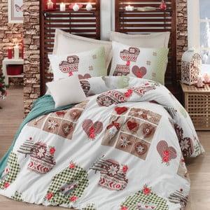Lenjerie de pat cu cearșaf Winter Beige, 200 x 220 cm