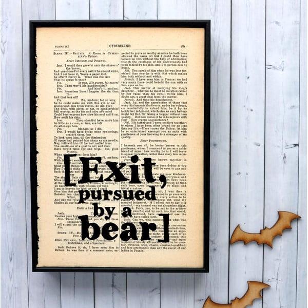 Plakát v dřevěném rámu Shakespeare Exit