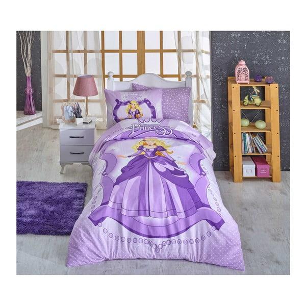 Lenjerie de pat din bumbac ranforce și cearșaf Princess Lilac, 160 x 220 cm