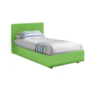 Zelená  jednolůžková postel s potahem z bavlněné textilie 13Casa Ninfea, 80x190cm