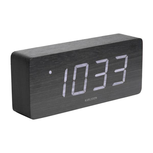 Černý budík v dřevěném dekoru Karlsson Cube, 21 x 9 cm
