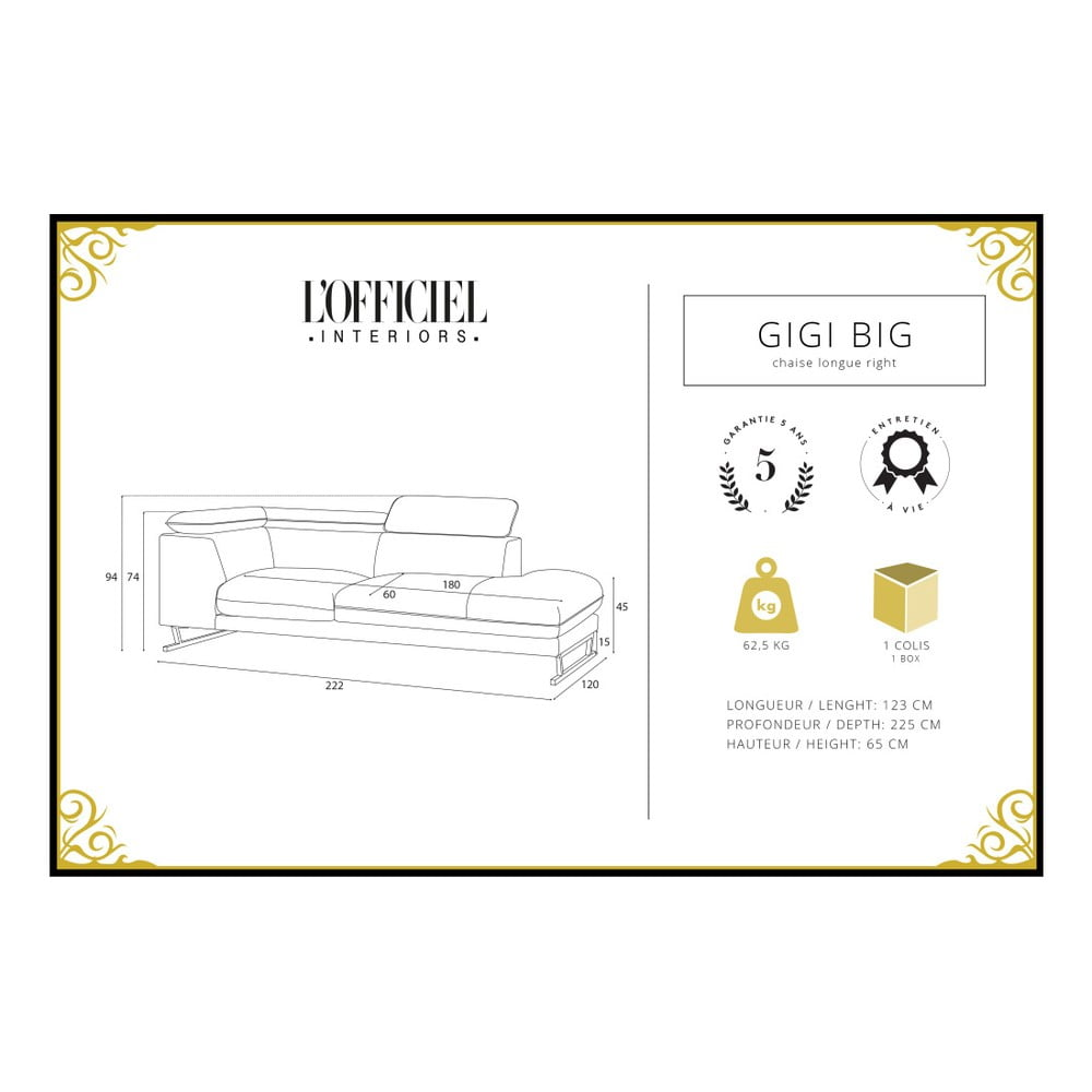 L Officiel Interiors Gigi antracitově šedá pohovka s lenoškou na pravé straně l'officiel interiors  gigi big | bonami