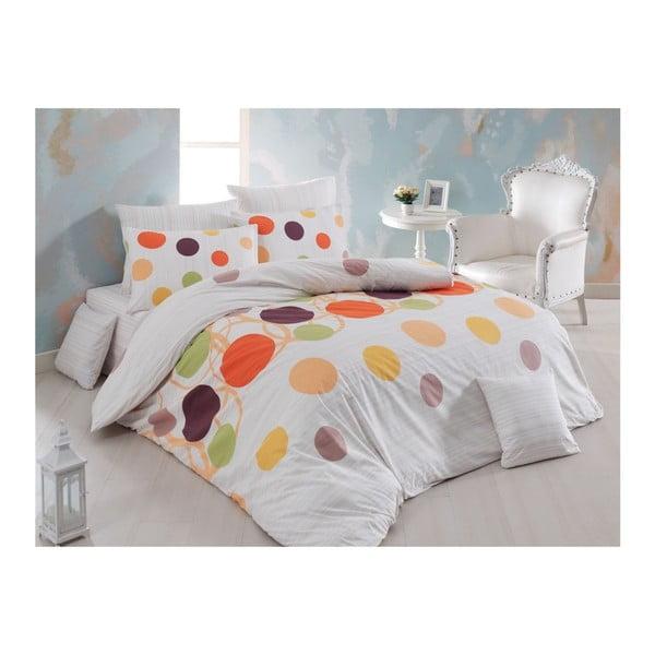 Lenjerie de pat cu cearșaf din bumbac Points, 200 x 220 cm