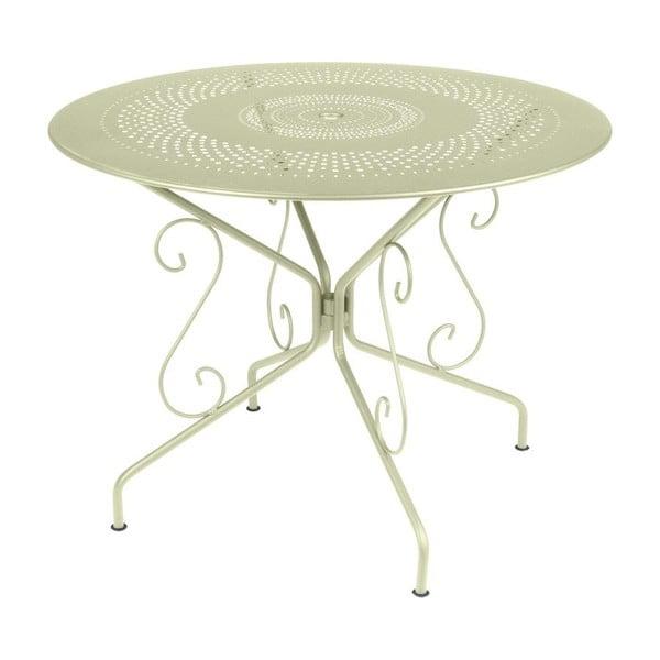 Zelenkavý kovový stůl Fermob Montmartre, Ø96cm