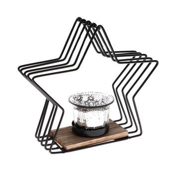 Sfeșnic metalic în formă de stea Dakls, înălțime 18 cm, negru imagine