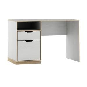 Bílý psací stůl s dřevěným dekorem Szynaka Meble Happy