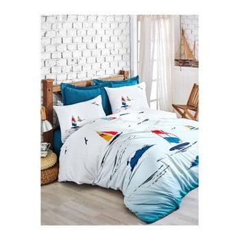 Lenjerie cu cearșaf din bumbac ranforce pentru pat dublu Neta Blue, 200 x 220 cm