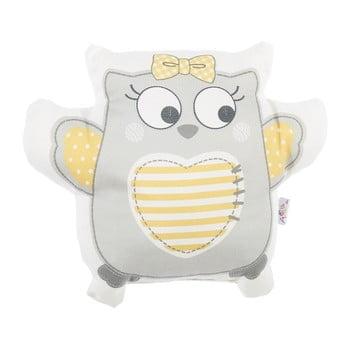 Pernă din amestec de bumbac pentru copii Apolena Pillow Toy Owl, 32 x 26 cm, gri de la Apolena