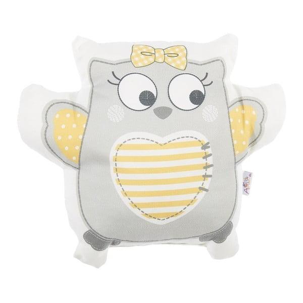Pernă din amestec de bumbac pentru copii Apolena Pillow Toy Owl, 32 x 26 cm, gri