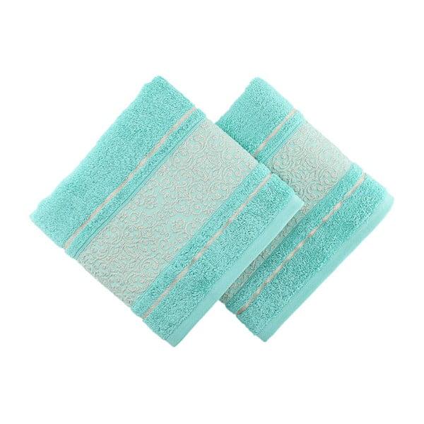 Sada 2 modrozelených ručníků Fance, 50x90cm
