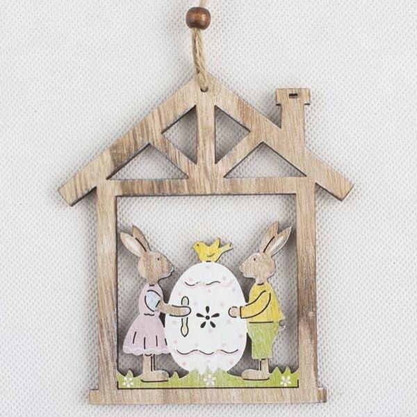 Dřevěná závěsná dekorace Dakls Easter Owl In House