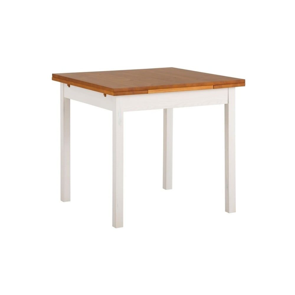 Bílý rozkládací jídelní stůl z borovicového dřeva Støraa  Marlon, 80x80cm