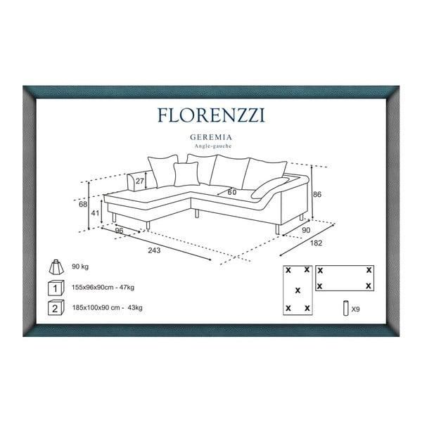 Světle šedá pohovka Florenzzi Geremia s lenoškou na levé straně