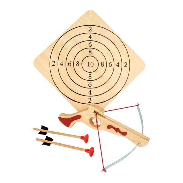 Drewniana kusza ze strzałami i tarczą Legler Crossbow