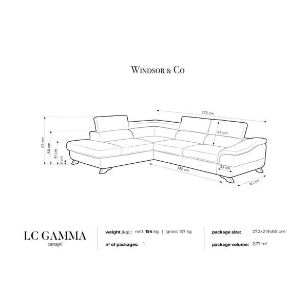 Tmavě šedá rozkládací rohová pohovka koženkového vzhledu Windsor & Co Sofas Gamma, levý roh