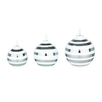 Set 3 ornamente din ceramică pentru Crăciun cu detalii argintii Kähler Design Omaggio, alb de la Kähler Design