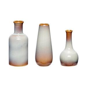 Sada 3 hnědobílých keramických váz Hübsch Frej