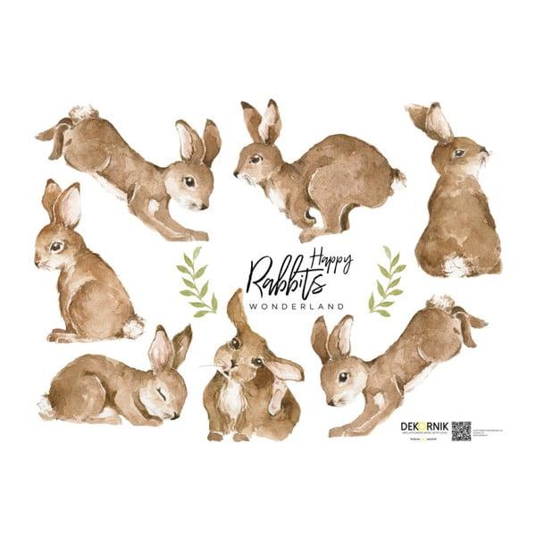 Zestaw 7 naklejek ściennych Dekornik Happy Rabbits Wonderland