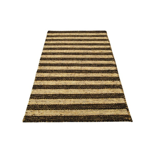 Ručně tkaný koberec Dark Brown Lines Kilim, 115x150 cm