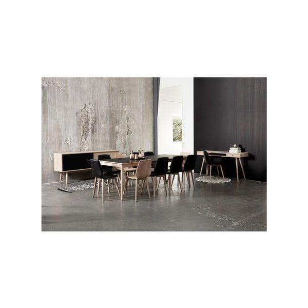 Set 2 scaune cu picioare din lemn masiv de nuc WOOD AND VISION Basic, negru