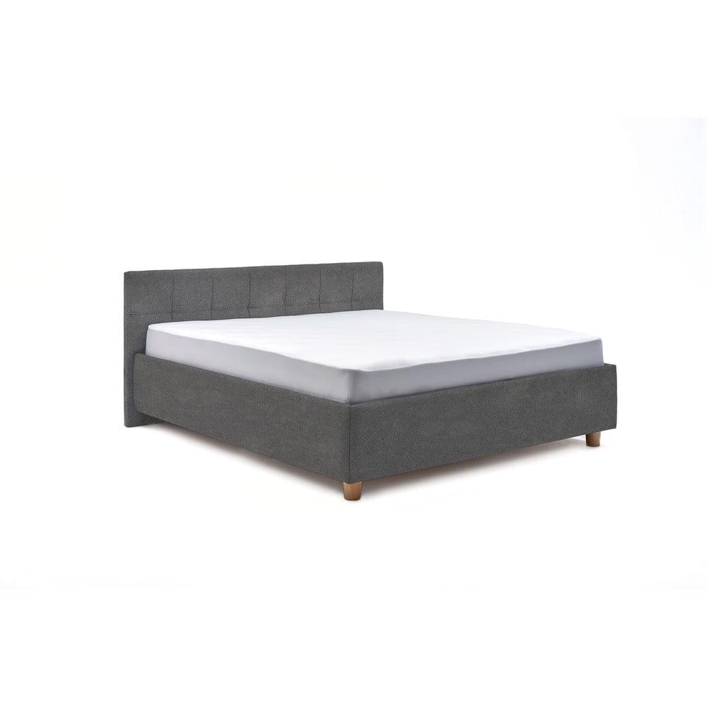 Světle šedá dvoulůžková postel s úložným prostorem ProSpánek Leda, 160 x 200 cm