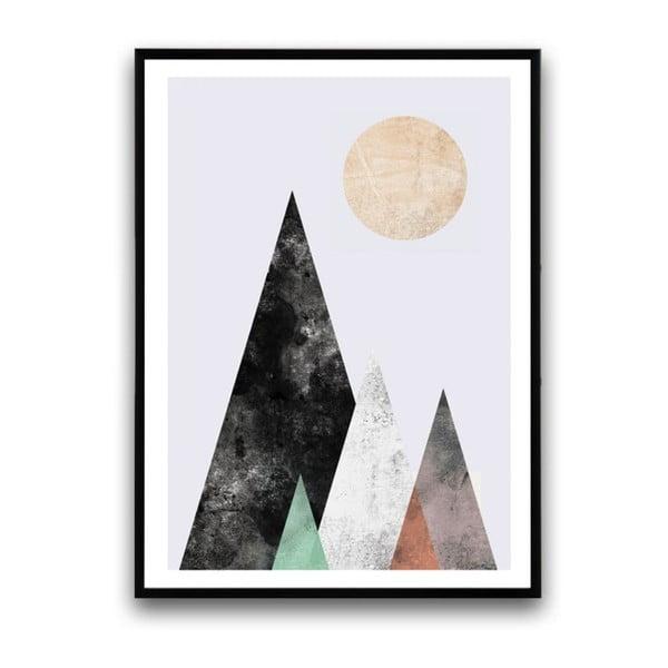 Plakát v dřevěném rámu Abstract moutain, 38x28 cm