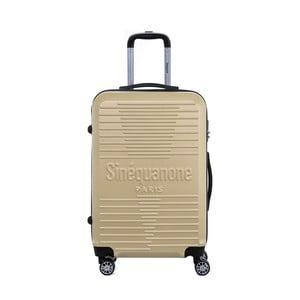 Cestovní kufr na kolečkách v barvě šampaň s kódovým zámkem SINEQUANONE Trimy, 71l