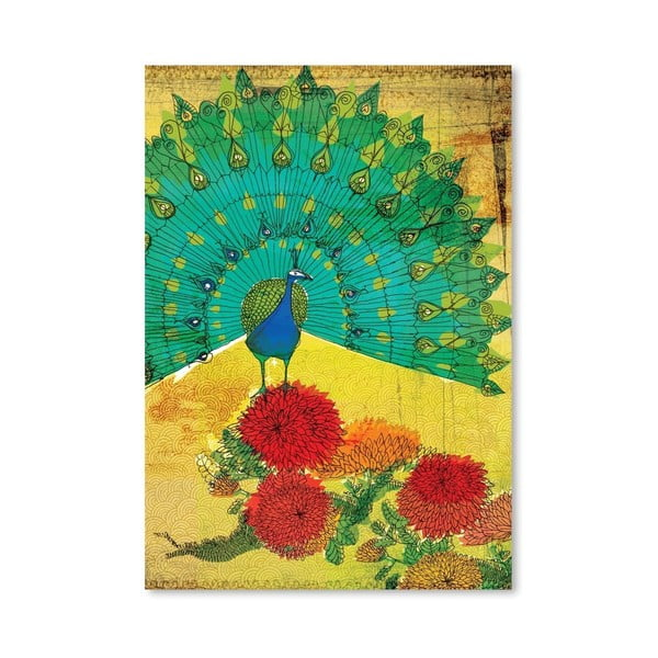 Plakát Peacock Wooden, 30x42 cm