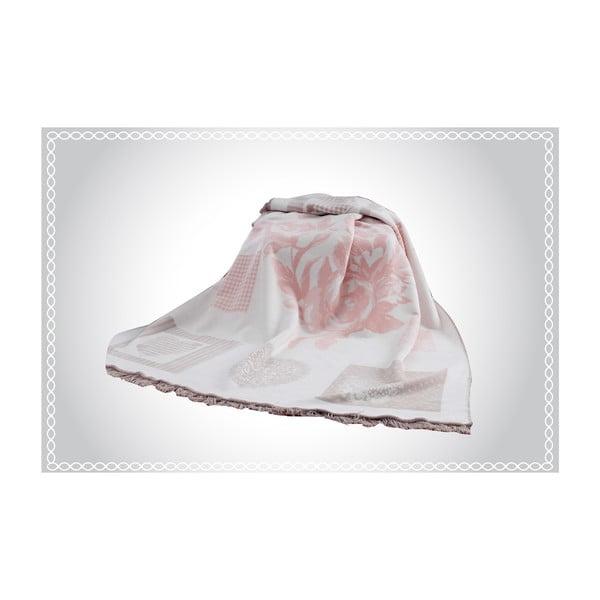 Koc z domieszką bawełny Aksu Rosie, 220x150 cm
