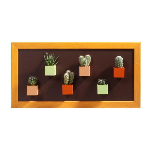 Magnetický obraz, oranžový s hnědým podkladem, 23x50 cm
