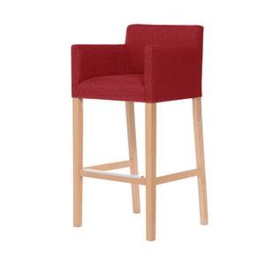 Červená barová židle s hnědými nohami Ted Lapidus Maison Sillage