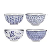 Sada 4 porcelánových misek Blue, 11 cm
