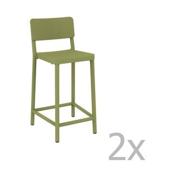 Set 2 scaune bar adecvate pentru exterior Resol Lisboa Simple, înălțime 92,2 cm, verde