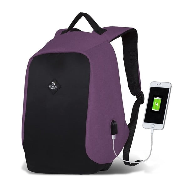 Rucsac cu port USB My Valice SECRET Smart Bag, negru-mov