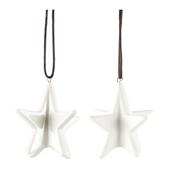 Sada 2 dekorativních hvězd KJ Collection White Matt, 6,4 cm